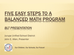 1 Five Easy Steps to a Balanced Math Program