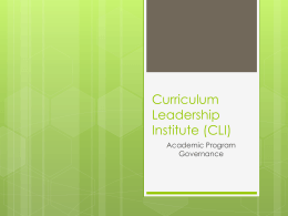 Curriculum Leadership Institute (CLI)