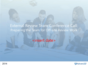 Use the External Review Team Workbook to record