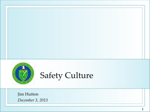 Safety Culture - Operating Experience