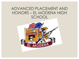EL MODENA ADVANCED PLACEMENT AND HONORS PROGRAM