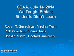 We Taught Ethics - Southern Business Administration Association