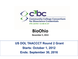 November 2013 - National Center for the Biotechnology Workforce