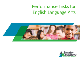 Performance Task for English Language Arts