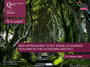 New approaches to Key Stage 2/3 science teaching in the outdoor