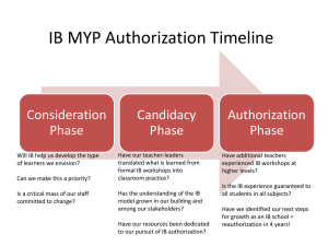 IB MYP Authorization Timeline