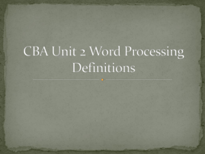 CBA Unit 2 Word Processing Definitions