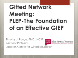 PLEP-The Foundation of an Effective GIEP