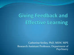 Giving Feedback and Effective Learning