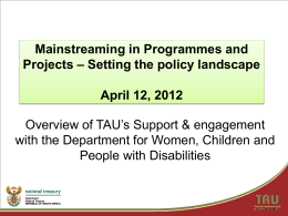 Mainstreaming in Programmes and Projects – Setting the