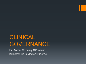 Clinical Governance - Rachel McEnery