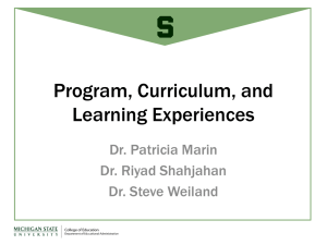 Program, Curriculum, and Learning Experiences