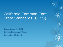 short version California Common Core Presentation for BLTs 12-13-13