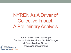 S. Sturm & L. Pope, (2013), NYREN as a Driver of Collective Impact
