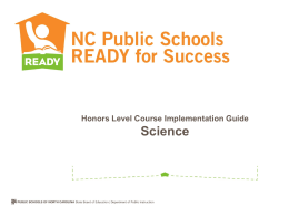 Must include - NC Science Essential Standards
