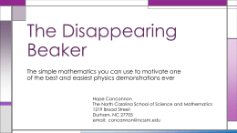 The Disappearing Beaker - North Carolina School of Science
