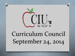 September Curriculum Council PowerPoint