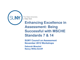 MSCHE Standard 14 Assessment of Student Learning