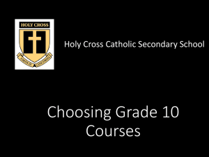 Choosing Grade 10 Courses - London District Catholic School Board