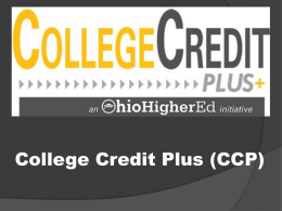 College Credit Plus (CCP)