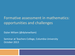 Formative assessment: Challenges and opportunities