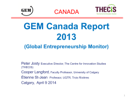 GEM Canada Report 2013 - Launch Presentation