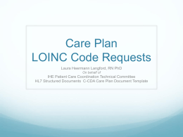 LOINC Care Plan Discussion