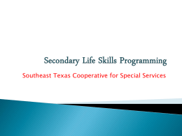 Secondary Life Skills Programming