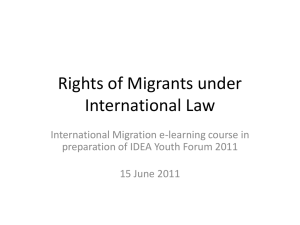 Rights of Migrants under International Law - IDEA