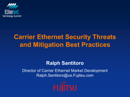 Carrier Ethernet Security Threats and Mitigation Best Practices