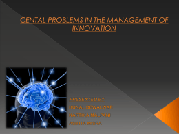 cental problems in the management of innovation