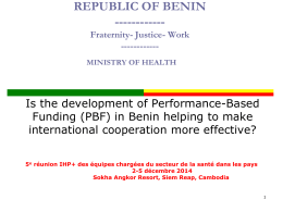 Benin presentation - International Health Partnership