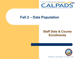 CALPADS Fall 2 Data Population v1.0 published 10/17