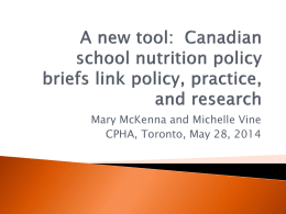 Presentation - Canadian Public Health Association