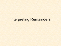 Interpreting Remainders #3