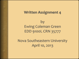 Written Assignment 4 by Ewing Coleman Green EDD 9100L CRN