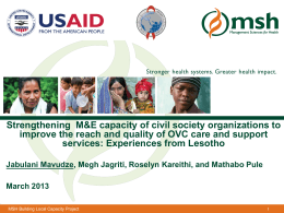 Strengthening the monitoring and evaluation capacity of civil