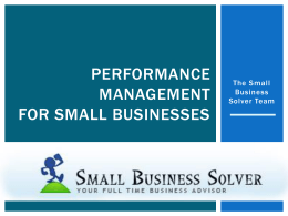 Performance Management - Small Business Solver