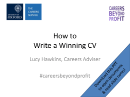 How to Write a Winning CV - The Careers Service