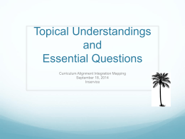 Topical Understandings and Essential Questions