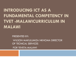 Introduction of ICT as a fundamental competency in TVET in Malawi