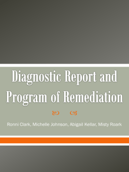 Diagnostic Report and Program of Remediation Power