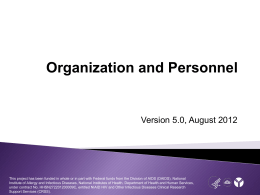 Organization and Personnel
