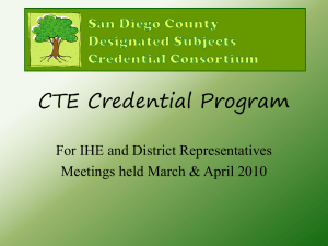 CTE Credential Program - San Diego County Office of Education