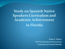 Study on Spanish Native Speakers Curriculum and Academic