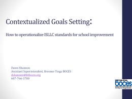 Contextualized Goals Setting: How to operationalize ISLLC