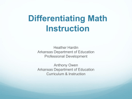 Differentiating Instruction in Mathematics