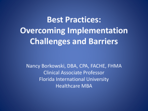 Best Practices: Overcoming Implementation Challenges and Barriers