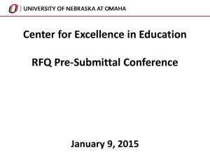 Center for Excellence in Education Pre Submittal Conference