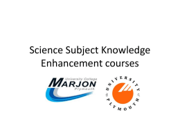 Physics Subject Knowledge Enhancement course